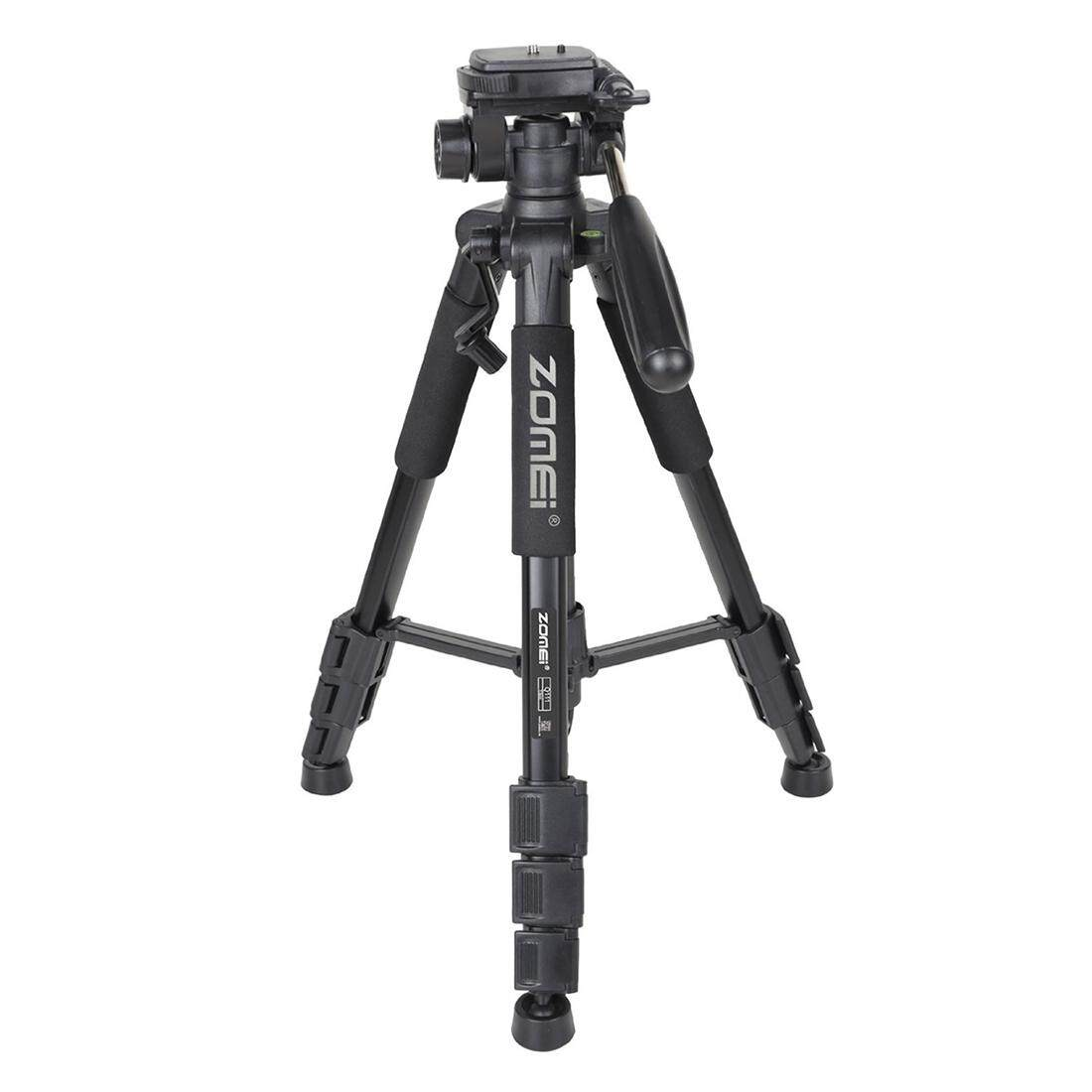 ZOMEI Q111 Portable Pro 55-inch Tripod Compact Lightweight Camera Stand with Quick Release Pan Head Plate for Digital SLR Canon EOS Nikon Sony Panasonic Samsung Black
