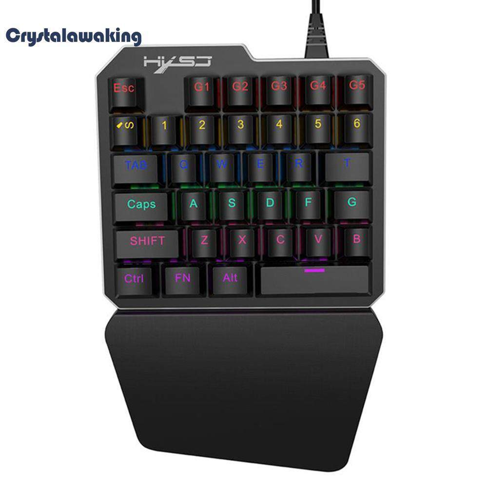 Single Hand 35 Keys USB Gaming Mechanical Keyboard LED Backlight for PUBG