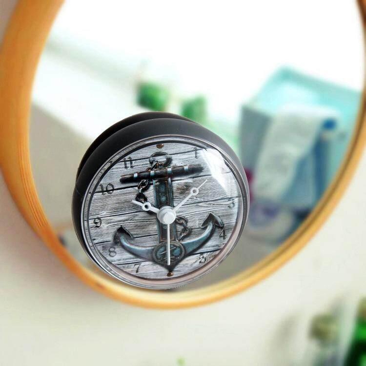 Mediterranean Retro 3D Anchor Waterproof Shower Wall Mini Watch Suction Cup Batteries Modern Clock For Kitchen Bathroom