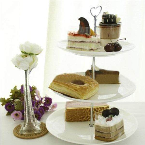3 Tier Heart Shape Metal Fruit Cake Plate Stand Handle Fitting Wedding Partysilvery By Moonbeam.