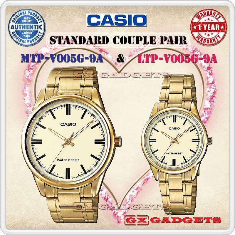 CASIO MTP-V005G-9A + LTP-V005G-9A STANDARD Analog Couple Pair Watch Gold Case Stainless Steel Band Water Resistant MTP-V005 LTP-V005 V005 Series Malaysia