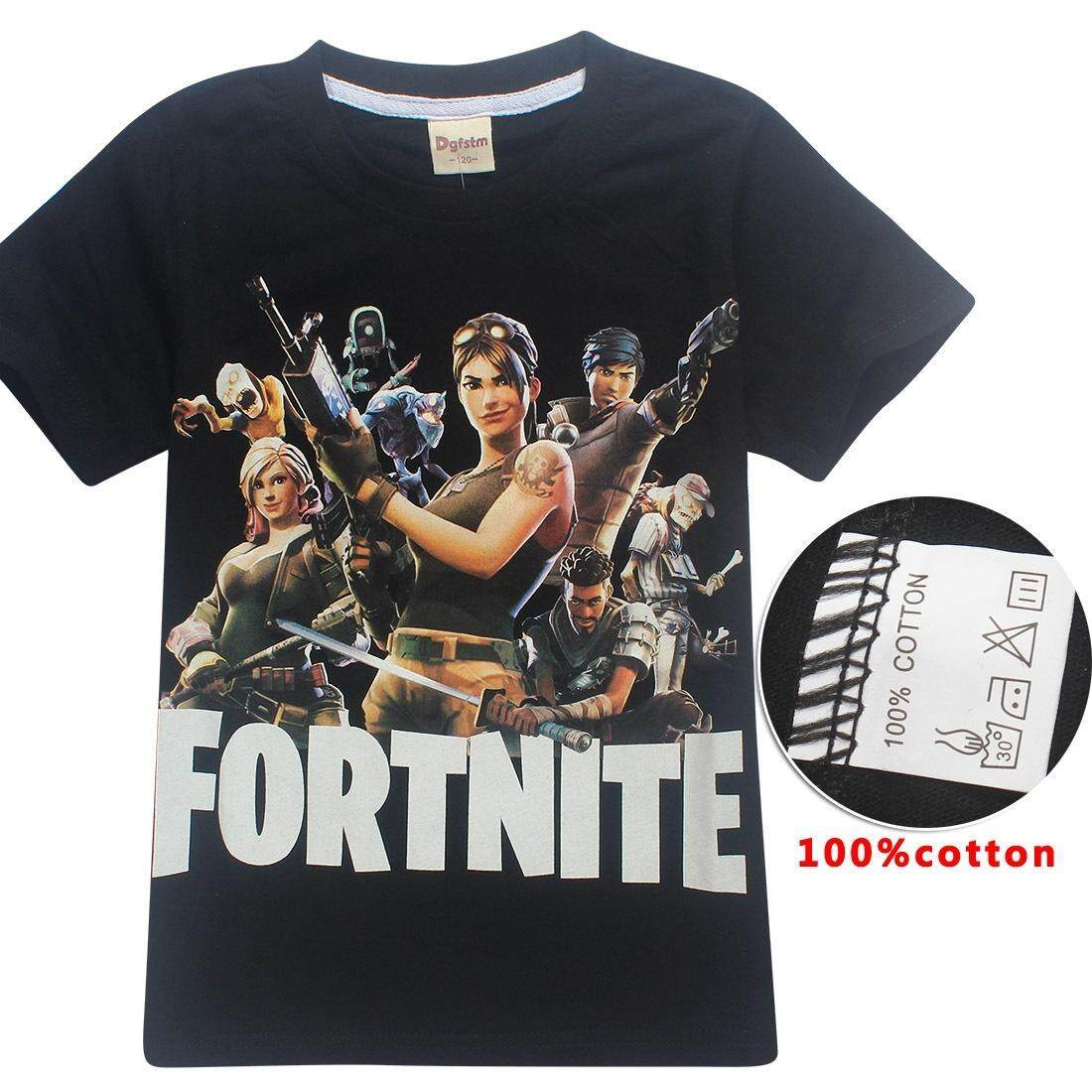 Hequ 100% Cotton 6-14 Years Old Summer Fortnite Printed T-Shirts Boys And Girls Tracksuits Kids Tops Casual Tees By Hequ Trading.