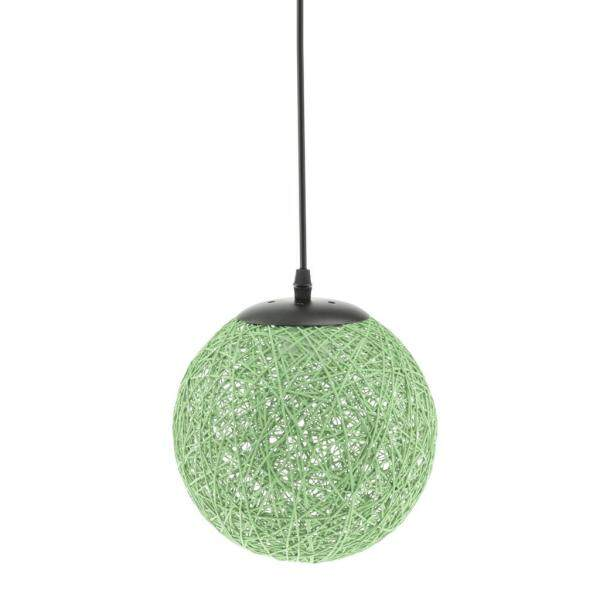 Perfk Romantic Rattan Ball Shaped Lampshade for Cafe Restaurant Decor Green&Blue