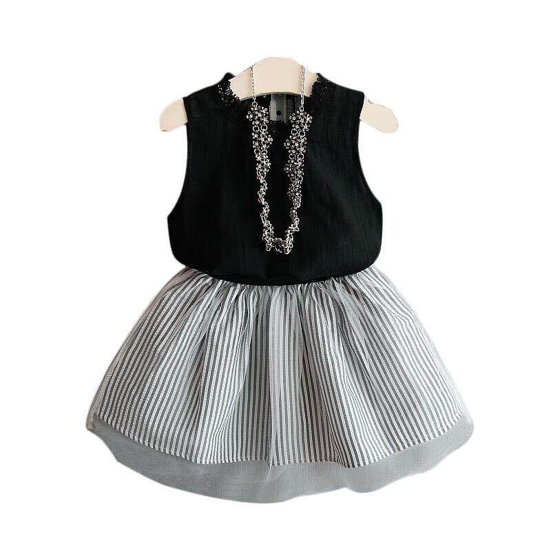 Giá bán Amart Fashion Korean Girl 2Pcs Clothes Set Sleeveless Vest Shirt Top+Striped Net Skirt
