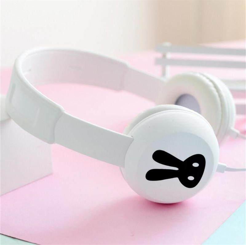 Jeebel Lucu Headphone Kelinci Stereo Headphone Bass Mikrofon Portable Headset Kabel Anak-anak Gadis Telepon Seluler Hadiah Pink Kartun-Intl