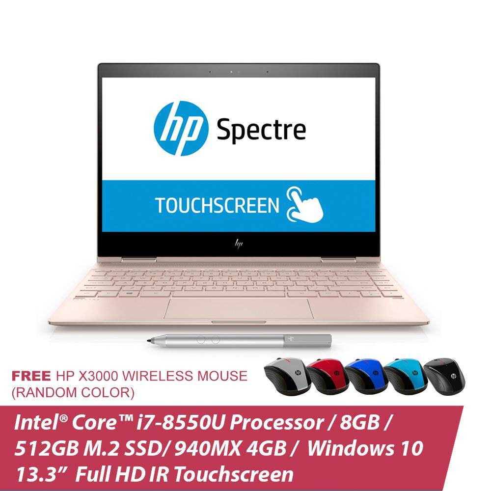 HP Spectre x360 13-ae096TU Notebook 3KK45PA Pale Rose Gold/13.3Inch FHD IR TS/i7-8550U/8GB/512GB SSD/Win10+ Free HP Wireless Mouse