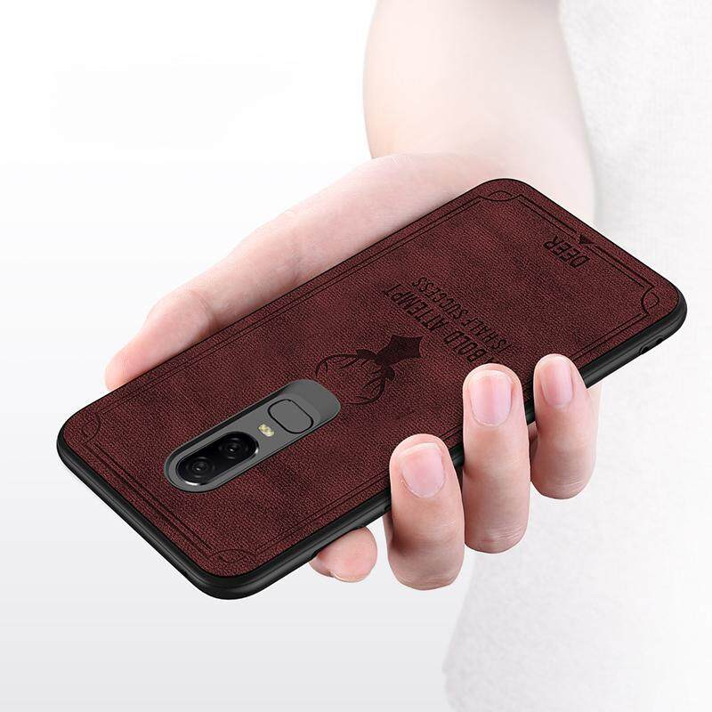 Luxuy Brand Cloth Texture Case Deer Soft Cases for Oneplus 6 Cloth Casing Elk Back Cover for Oneplus 6 Housing