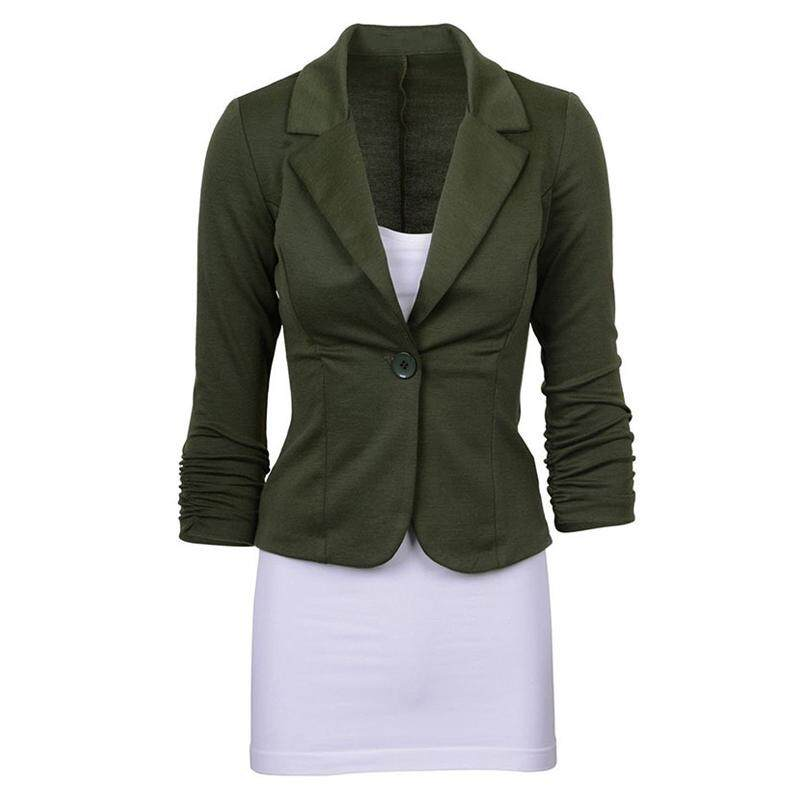 Women s Casual Work Solid Color Knit Blazer Plus Size One button Jacket(Army  green ae20de6ce9