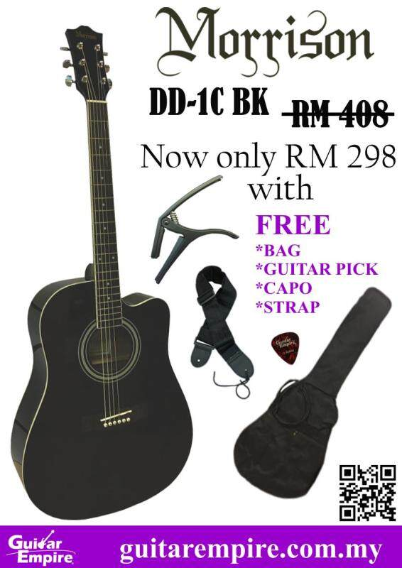 Morrison 41inch Acoustic Guitar DD-1C, BLACK COLOR, FREE BAG, CAPO, STRAP, GUITAR PICK Malaysia
