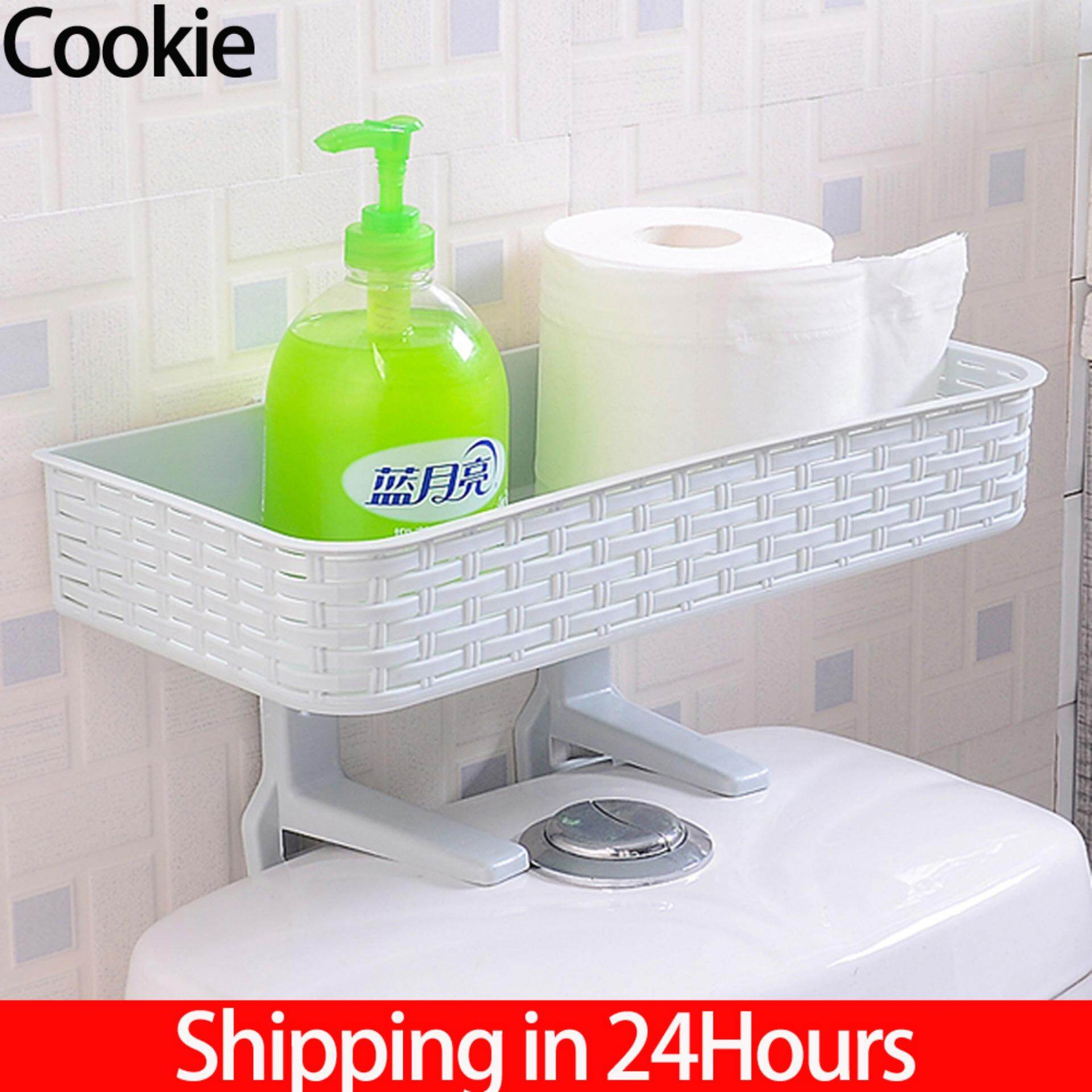 【time-Limited Promotions】strong Suction Wall Toilet Rack Bathroom Shower Hanging Shelf Supplies Toilet Storage Basket Rack Organizer(blue) By Cookie123.