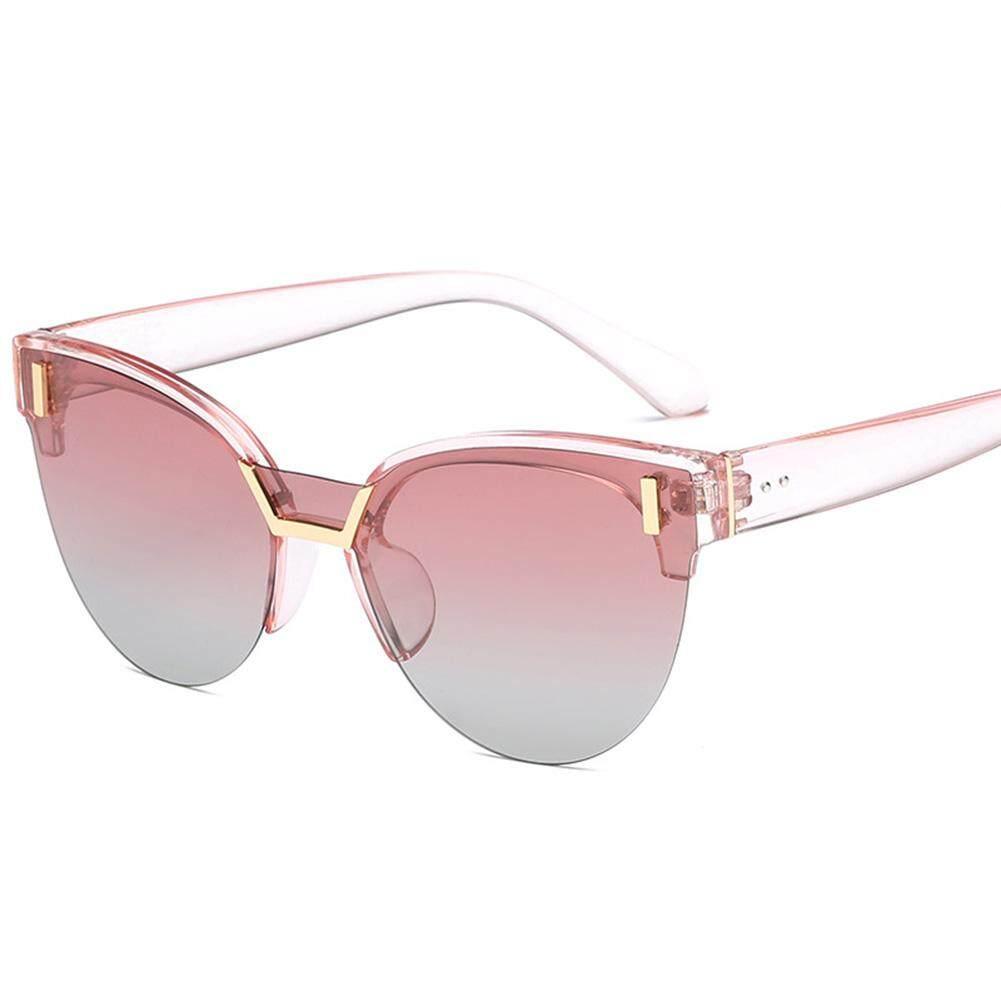 Qimiao Mata Kucing Retro Setengah Bingkai Kacamata Hitam Terpolarisasi UV400 Bersih Visi Kacamata Kacamata Lensa Warna