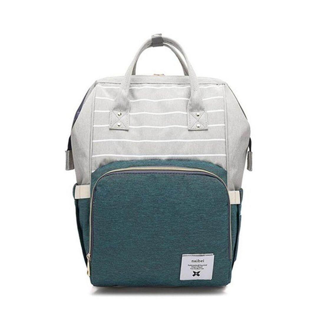Green Fashion Diapers Large-capacity Multi-function Care Bag Children Travel Striped Backpack Baby Diaper Bag Feeding Bottle Treasure Mother Out Backpack Waterproof Trolley Bag หาซื้อได้ที่ไหน