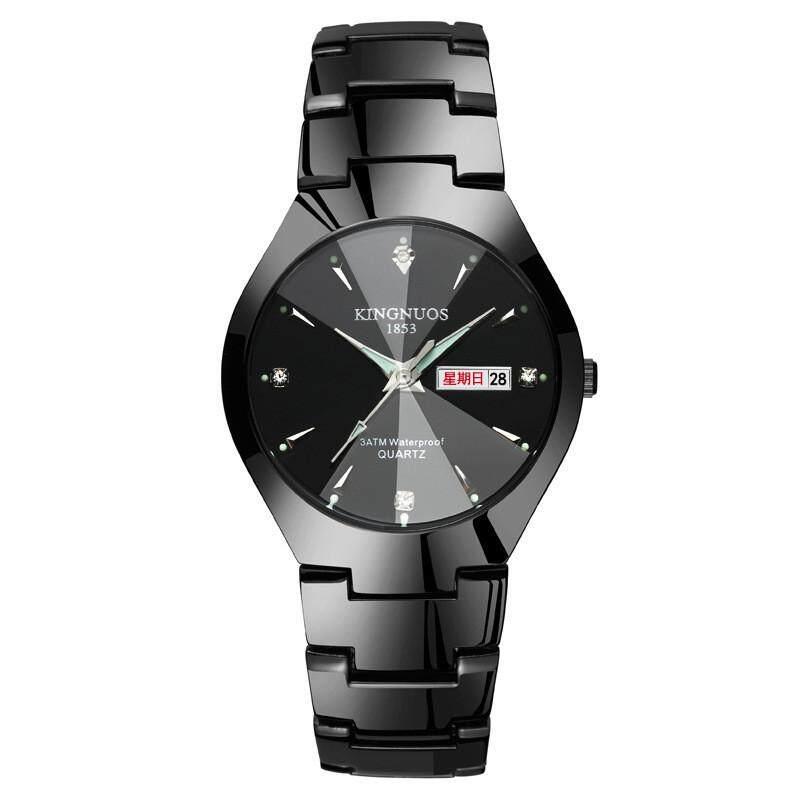 ROJEY-Tungsten Steel Couple Watches Luminous Double Calendar Quartz Watch Men And Ladies Steel Belt