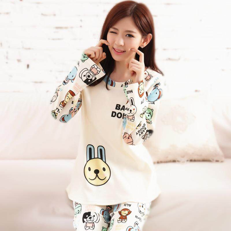 Pajamas women Long Sleeve Pure Cotton Spring And Autumn Cotton Homewear Set  Cute Cartoon Korean Style 3c8681cd7