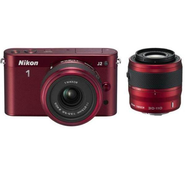 Nikon 1 J2 10.1 MP Kamera HD dengan 11-27.5 Mm F/3.5-5.6 dan 30-110 MM VR Lensa (Merah) (Model Internasional)