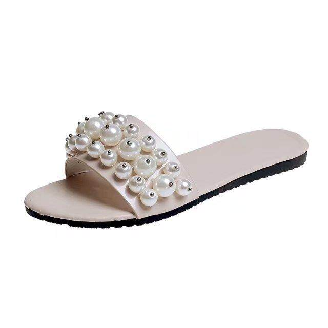 7e7cd156b62 3 Color Spring And Summer Word Slippers Female Pearl Flat Non-slip Sandals  Female Large