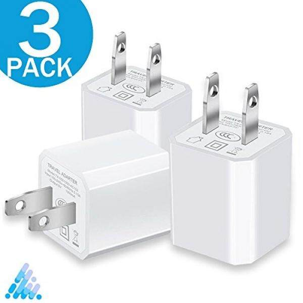 Smartphone Wall Chargers Charger, 5V 1A Certified Universal USB AC Charger Adapter Portable Travel High-Speed 1.0A Port Power Output Mini USB Wall Charger Cube for Apple iPhone Samsung HTC Android LG iPod Nokia (White) 3-PACK - intl