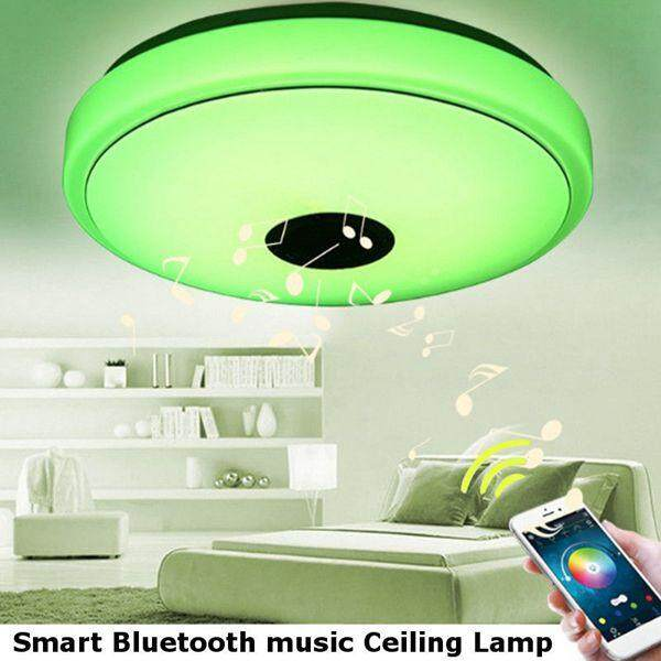 LED Dimmable Bluetooth Speaker Lamp Ceiling Down Light Fixture APP Control - intl Singapore