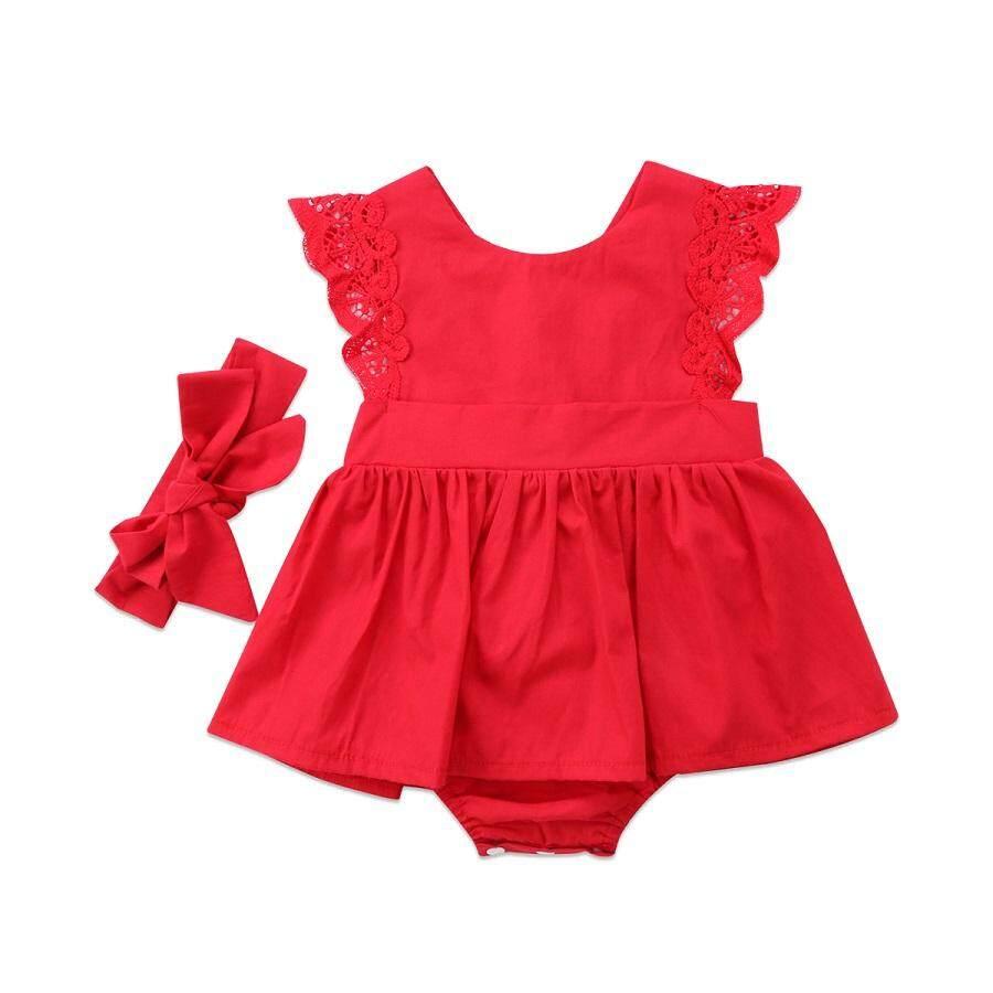 Manis Bayi Perempuan Anak Merah Renda Baju Monyet Gaun Pesta Gaun (Hadir Ikat Kepala)-Internasional