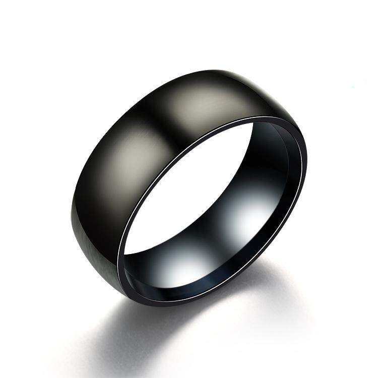 Vanker Luxury Wedding Band Ring Titanium Steel Curb Chain Spin For men Black 9mm. Source