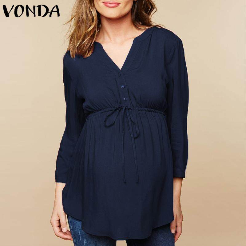 b08381f59a4a54 VONDA Maternity Pregnant Women Soft Casual Long Sleeve High Waist Top Shirt  Plus