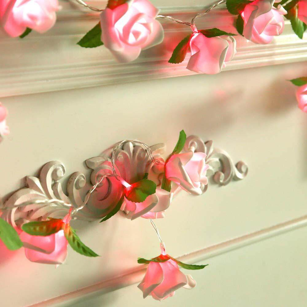 Tomagool Rose LED Window Curtain Lights String Lamp Party Decor With 20 LED Beads LED light Singapore