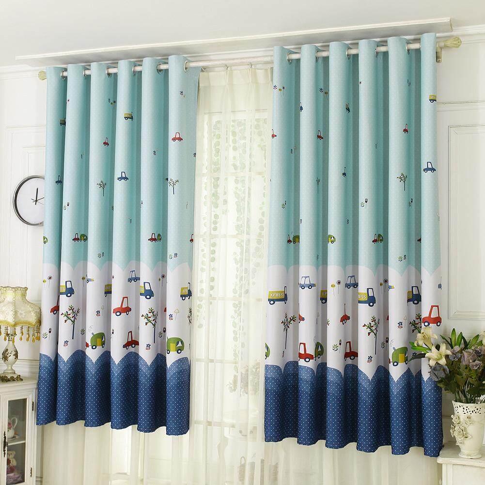 Cartoon Car Print Blackout Curtains Window Blinds Drapes Purdah Home Decor - intl