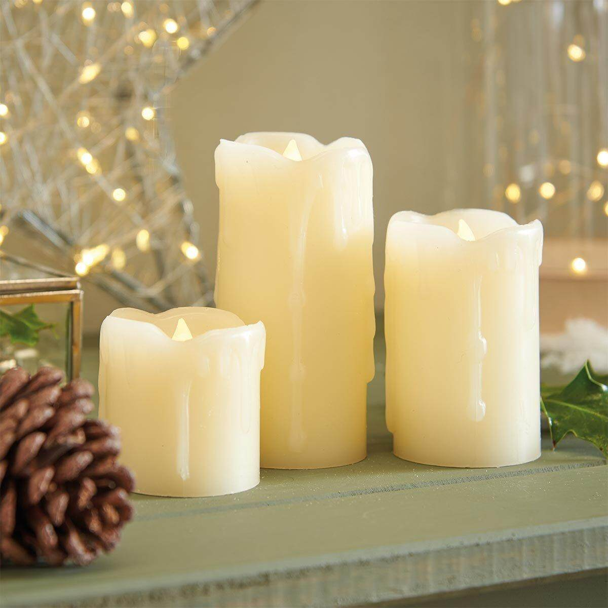 Cream Pillar Candles - Real Wax - 3 Pack - Flickering Flame - Warm White LED - Battery Operated by - intl
