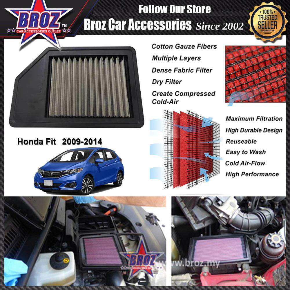 Honda Fit 1.5 RACING PERFORMANCE DROP IN CAR REUSABLE AIR FILTER (SAVE FUEL,SAVE MONEY & INCREASE ENGINE POWER) - H 2CM X W 17CM X L 30CM - Increases Horse and Response Power: 5% - 20%