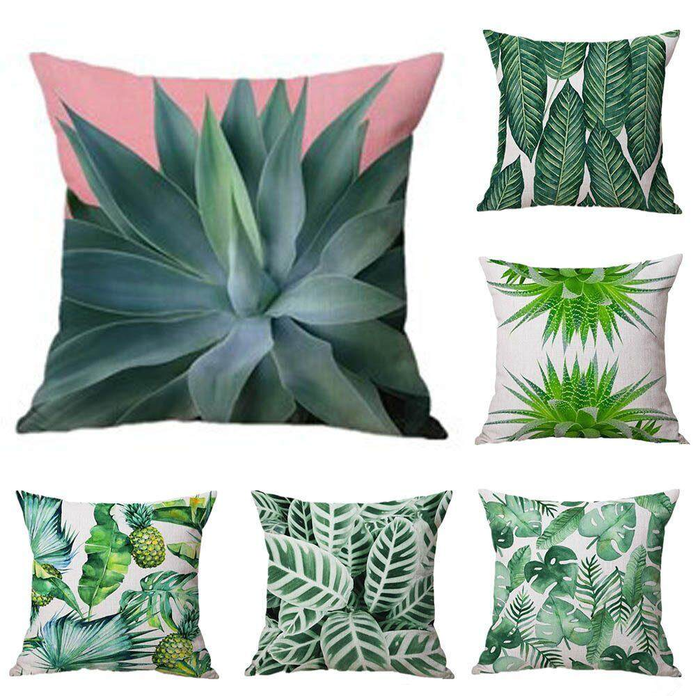 Yuero 6PC/Set Cushions Plants Green Leaves Cushion Cover watercolor Sofa Cushion Chair Seat Couch floorHome Decor Throw Pillow Case 45x45cm