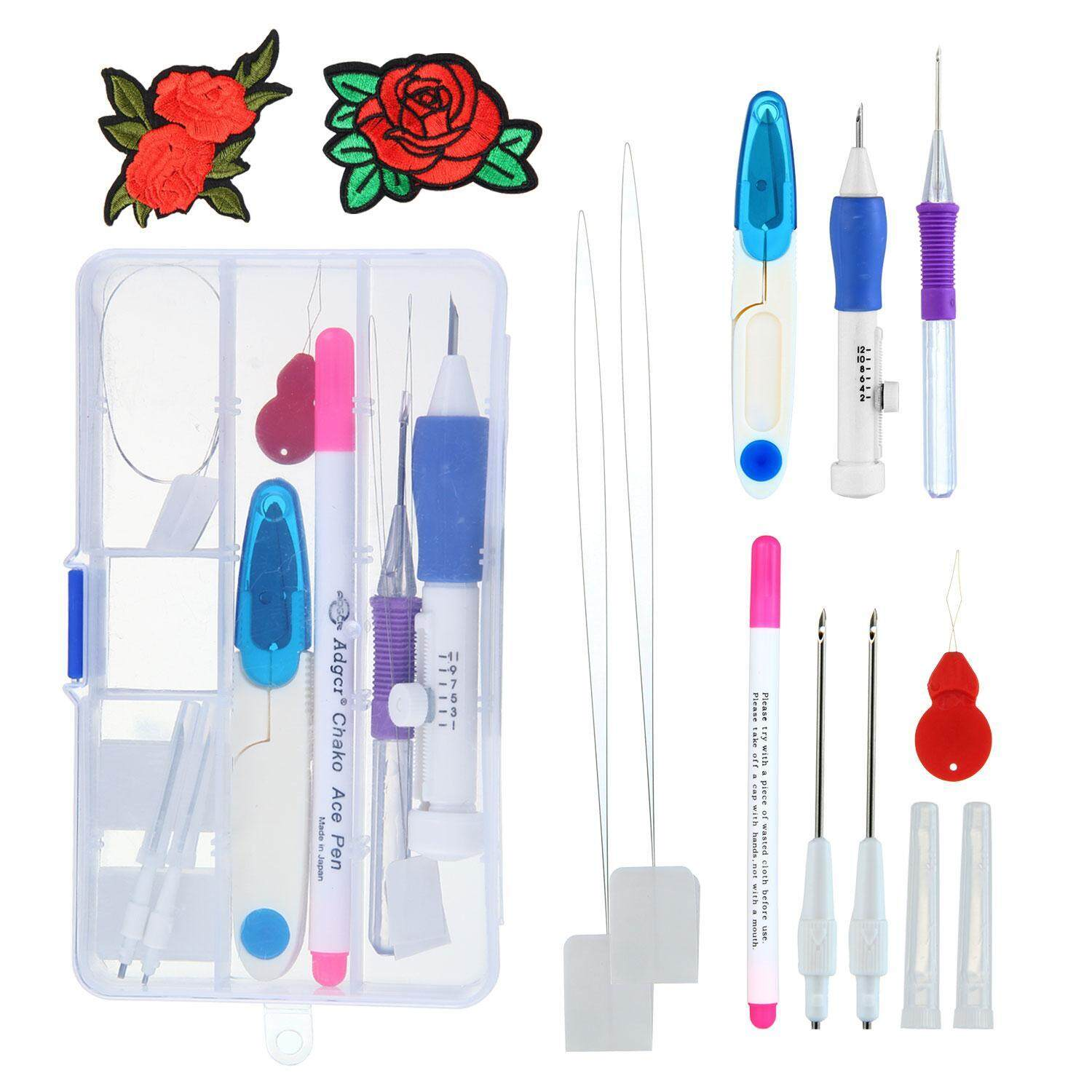 Teekeer Magic Embroidery Pen Embroidery Stitching Punch Needles Pen Set Craft Tool For Diy Threaders Sewing Knitting Kit