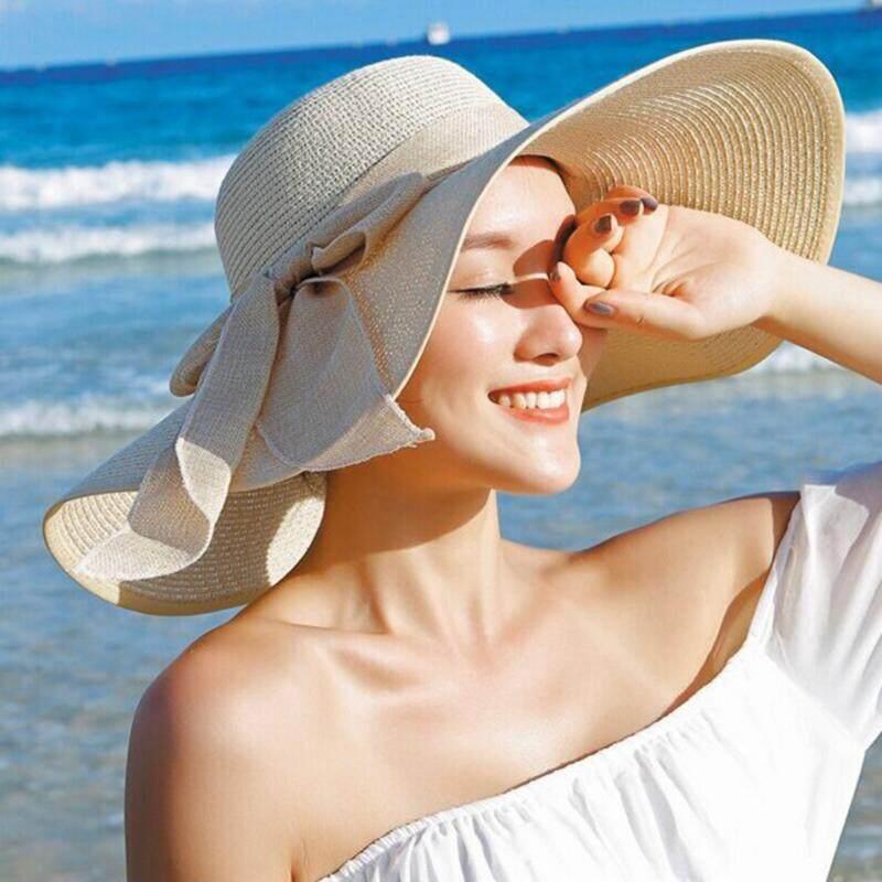 ใหม่หมวกฟางสำหรับสตรีฤดูร้อนฤดูใบไม้ผลิกว้าง Brim Beach หมวกกันแดดขนาดใหญ่ Bow Floppy Sunhat By Rytain.