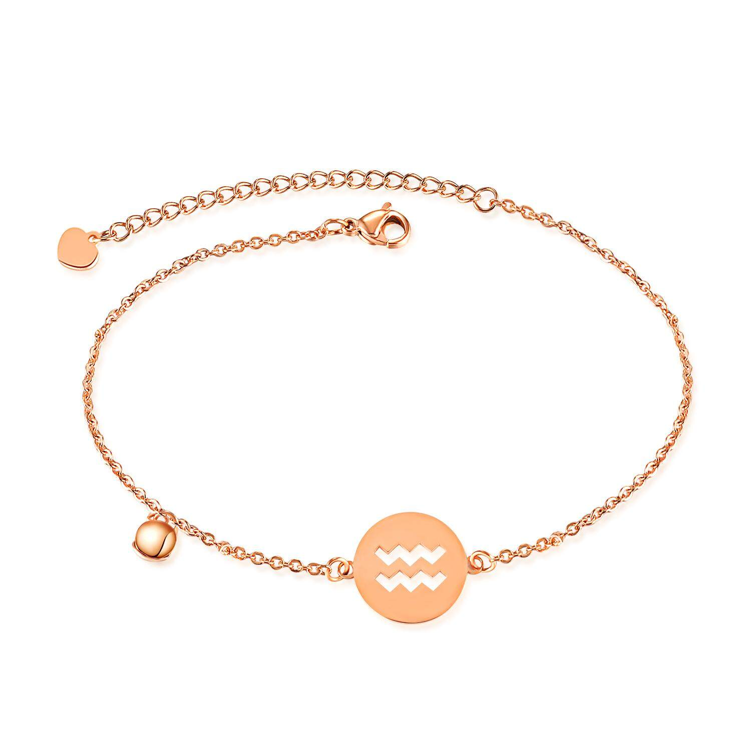 Women's Anklet Rose Gold Stainless Steel Chain Constellation of Aquarius 21+5.5cm - intl