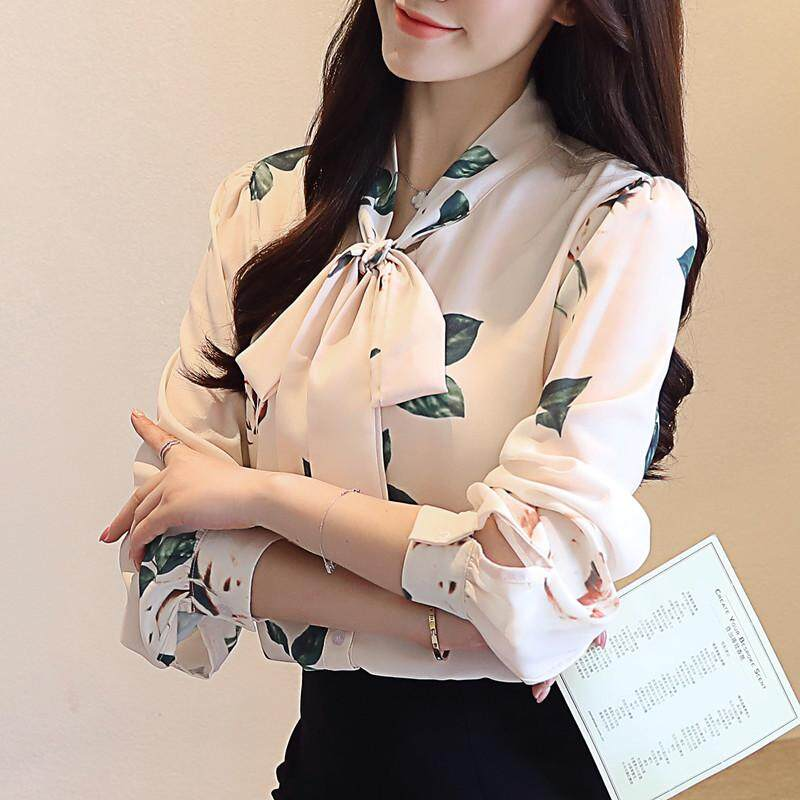 Chenwen 2018 Autumn New Women Sweet Bow Tie Floral Blouse Long Sleeve Loose Casual Shirts Ladys