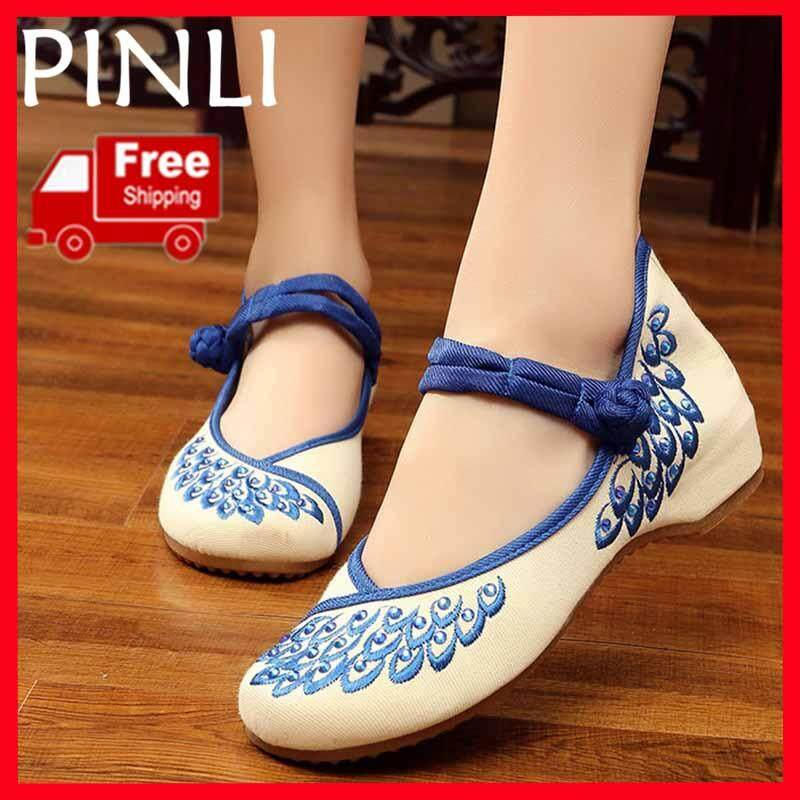 164456ea7f322f PINLI  Free Shipping  Size 34-41 New Canvas Embroidered Shoes Low-heeled