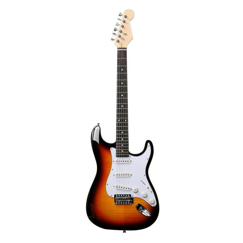 NEW SLAB BODY DOUBLE BOUND FLAME MAPLE 6 STRING STRAT ELECTRIC GUITAR SUNBURST Malaysia