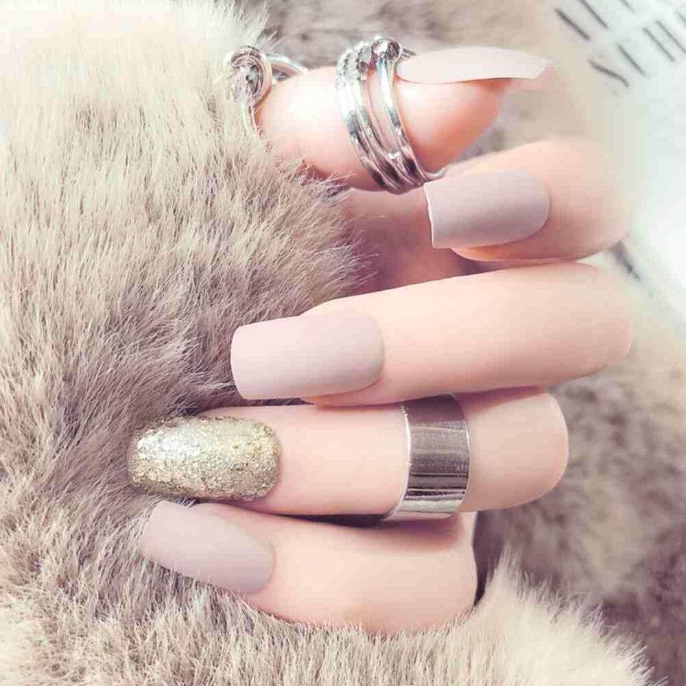 Yuero 24Pcs Matte Fashion Nail Art Full False Artificial Fake Nails Tips Long French Style