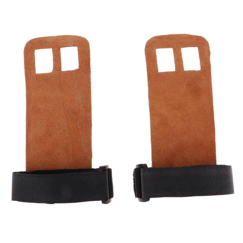 Hình ảnh Miracle Shining Weightlifting Gymnastics Palm Guard Grip Leather Hook Hand Protector L Brown