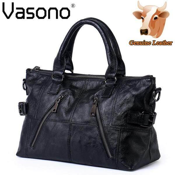 【Vasono】High Quality Top Grain 100% Genuine Cow Leather Women Top Handle Shoulder Bag - intl