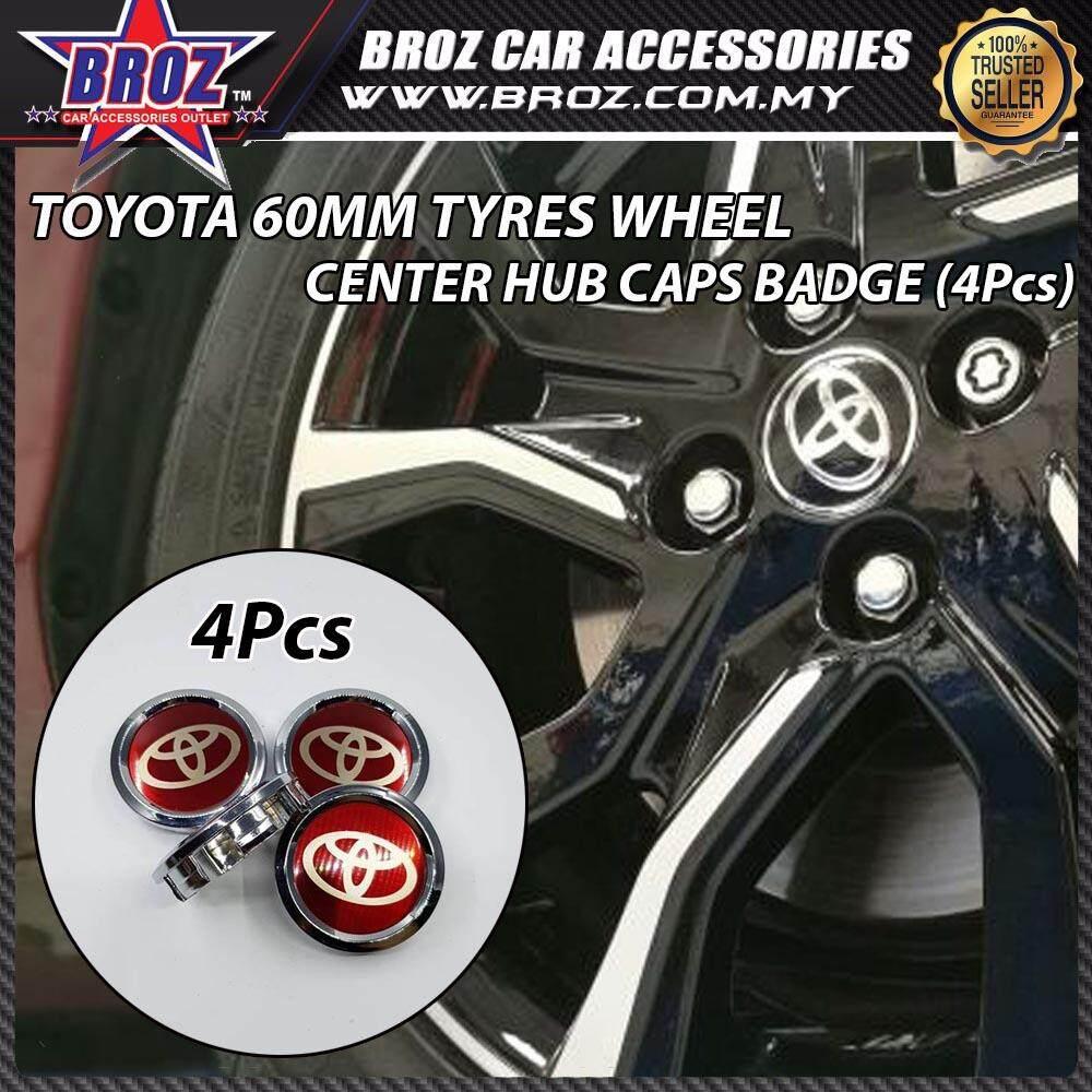 4pcs 60mm Toyota Red Design Car Emblem Logo Wheel Center Hub Caps Badge