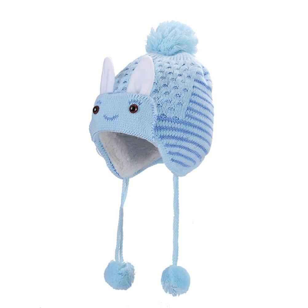 BN Telinga Kelinci Imut Desain Topi Bayi dengan Earmuff Bulu Luar Ruangan Bayi Topi Rajut Hangat