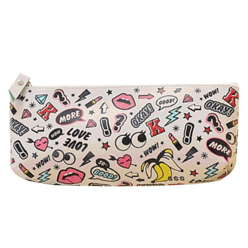 Cute Modern girl PU leather school pencil case for girl Kawaii Candy color Lip Dot pen