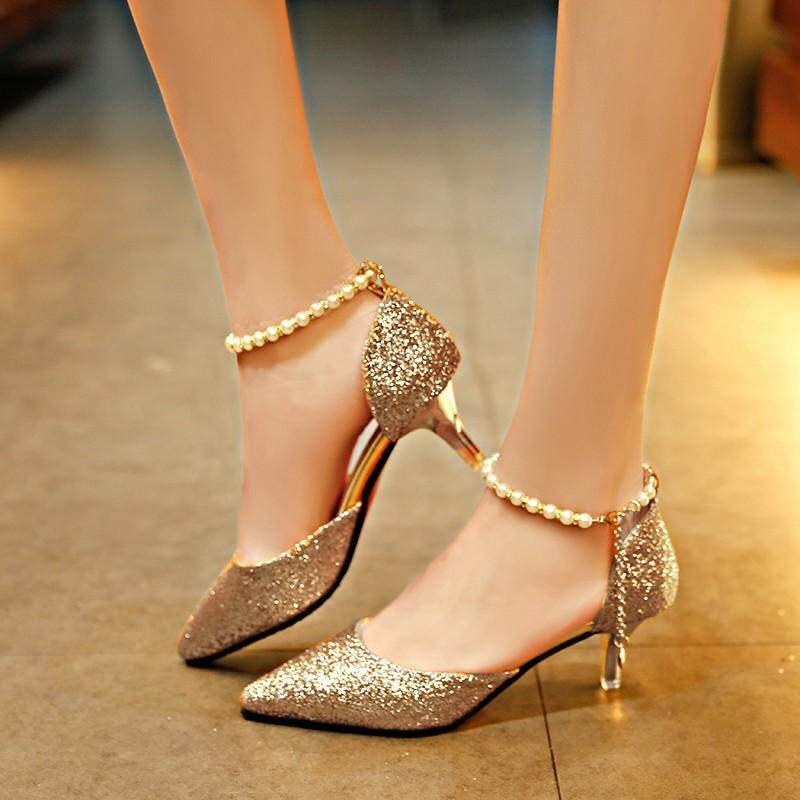 409dc1ec54a Women point toe Heeled Sandals with thin heel beading Sequins dancer summer  casual office party for