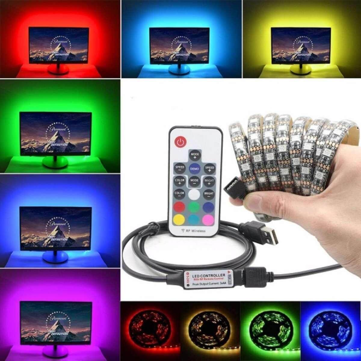 Waterproof USB LED Strip Multi Color Light RGB 5050 1 Metre 17keys remote controller 5V