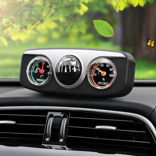 3 in 1 Guide Ball Auto Boat Vehicles Navigation Compass Thermometer Hygrometer Decoration Ornaments Car Interior