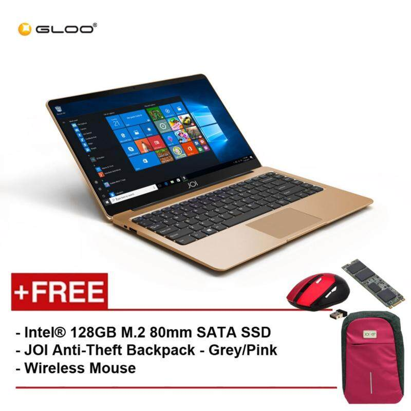 JOI Book 100 A147G 14 FHD (Cel N3450, 4GB, 32GB, Intel HD 500, W10) - Gold [Free Intel® 128GB M.2 80mm SATA SSD + JOI Anti-Theft Backpack - Grey/Pink + Wireless Mouse] Malaysia
