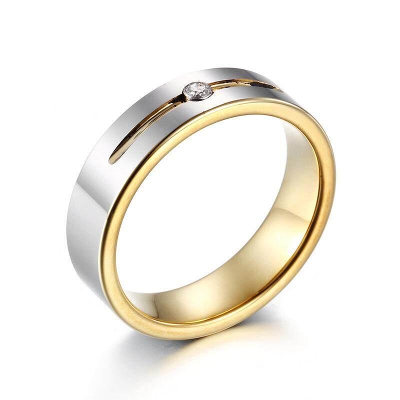 Baru Baja Tungsten Cincin Pasangan Zirkon Bertatah Perhiasan Emas untuk Pria dan Wanita