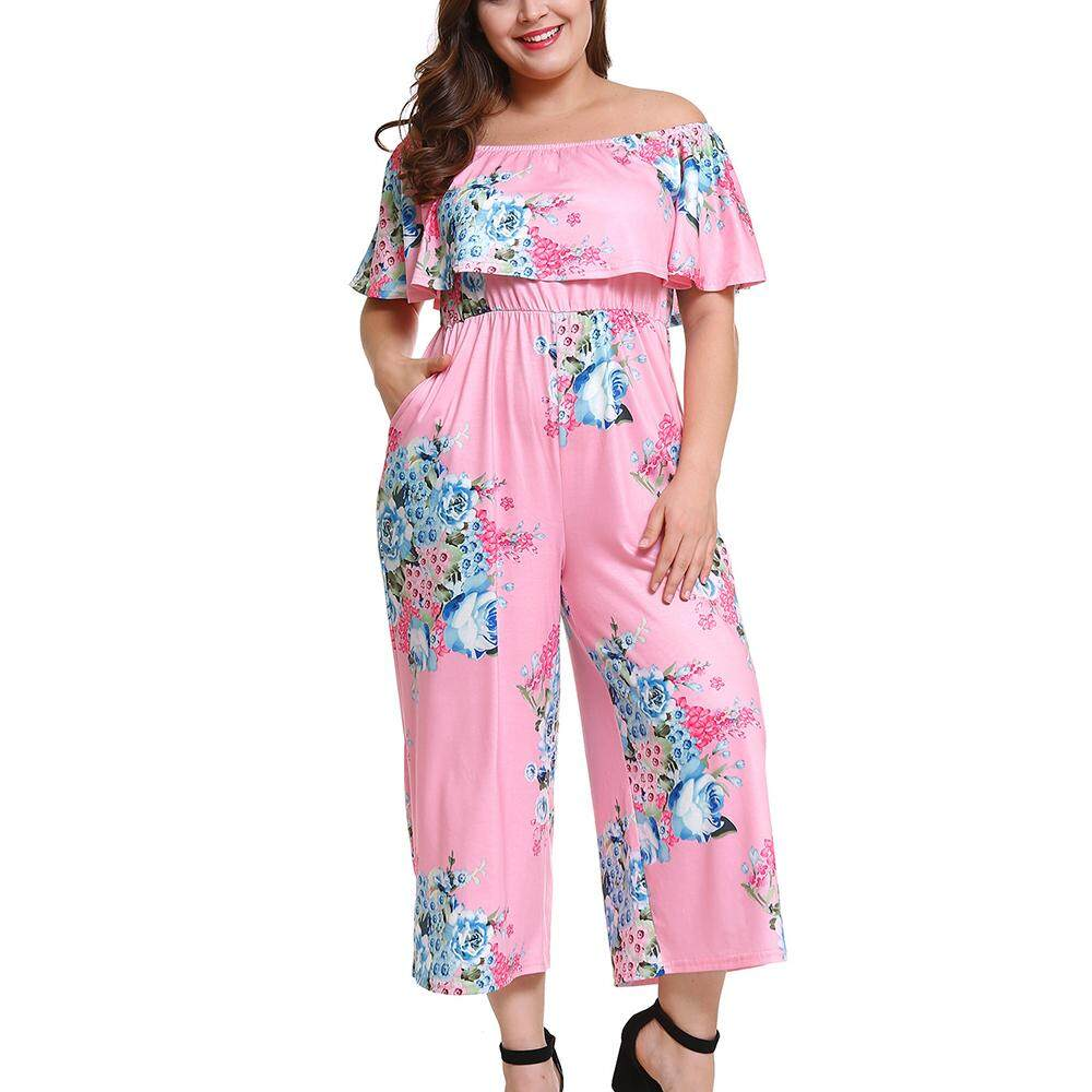 194312e57ef5 Woman Plus Size Jumpsuits Big Size Slash Neck Off Shoulder Playsuit Elegant  High Waist Floral Printed