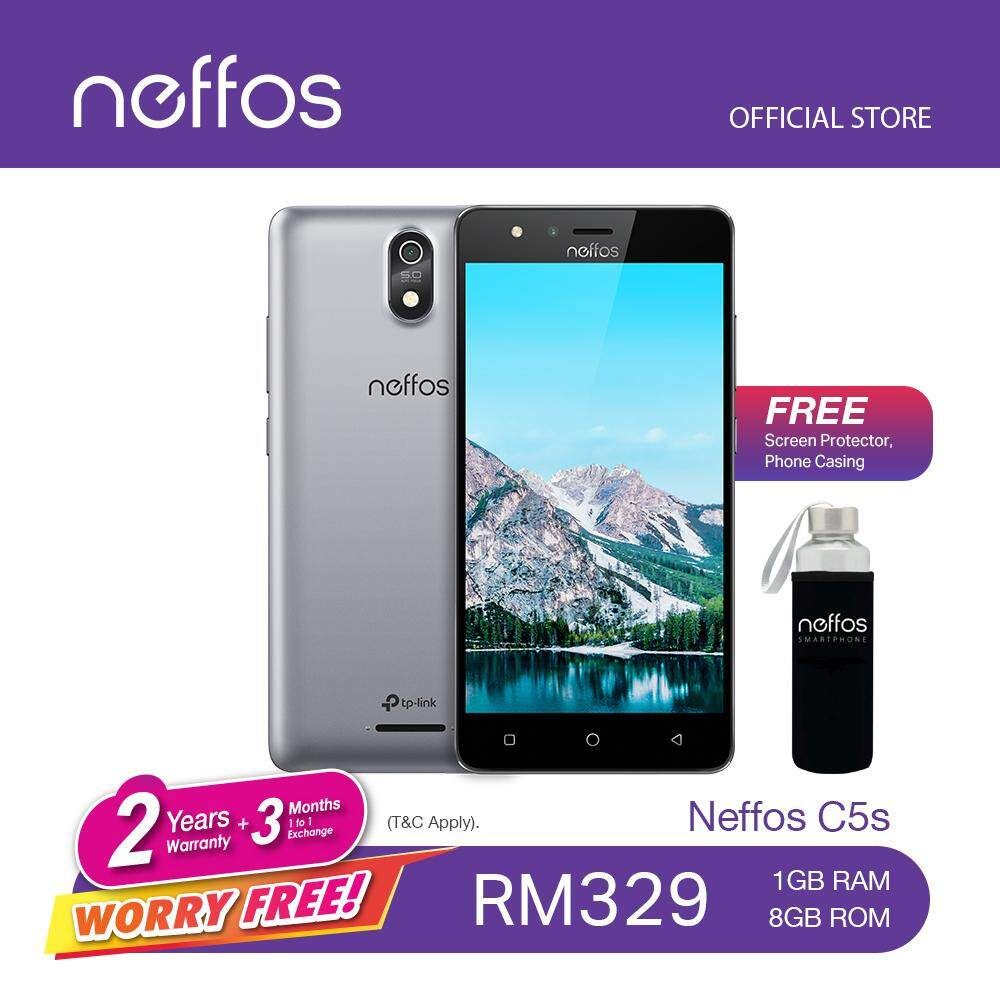 "TP-LINK NEFFOS C5S - Grey Quad Core 5""inch 5MP+2MP 1GB RAM + 8GB Android 7.0 Included Case"