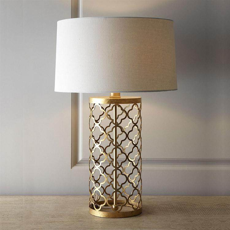 American Simple Gold Openwork Bird Cage Iron Table Lamp Continental Home Grid